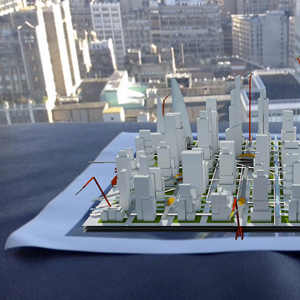 Small-scale model with comments integrated in 3D